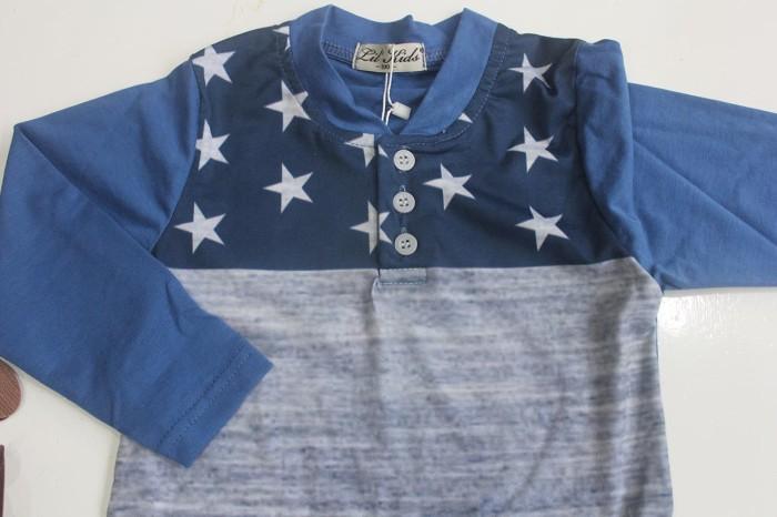 SETELAN ANAK LIL KIDS 166 E SUSPENDER LONG SLEEVE STAR BLUE (MED SIZE) -