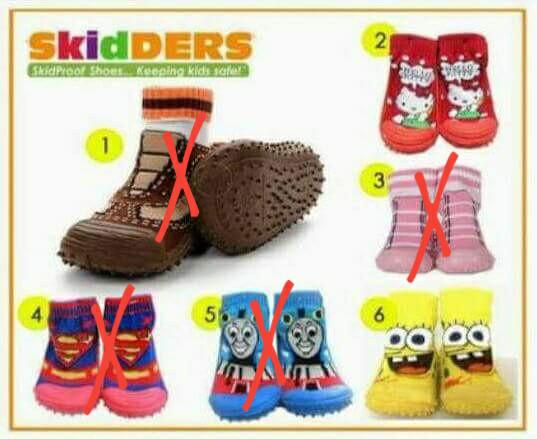 Skidders shoes sepatu kaos kaki skidder - 12-18 Bulan, Merah