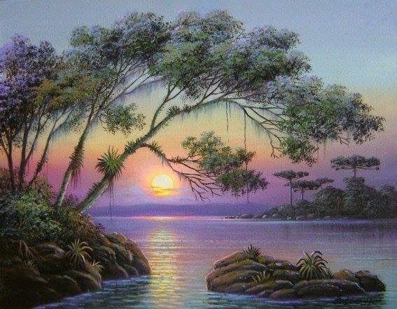 Jual Lukisan Kanvas Pemandangan Di Kala Senja Kab Gianyar