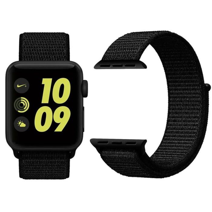 Foto Produk Tali Jam Apple Watch Woven Nylon Strap Band 42mm - All Black dari gudanggadget14