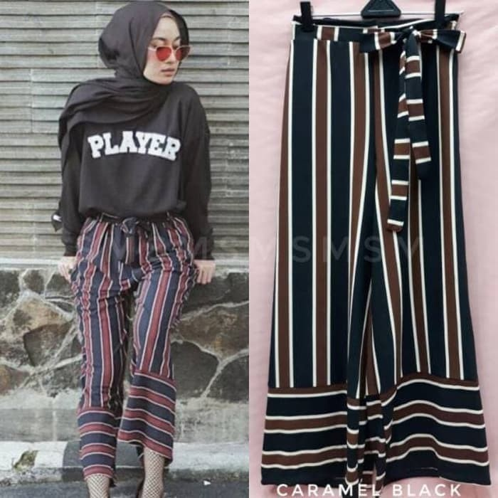 Jual Norway Pants With Bow Kulot Salur Import Kulot Zara Stripe Gn