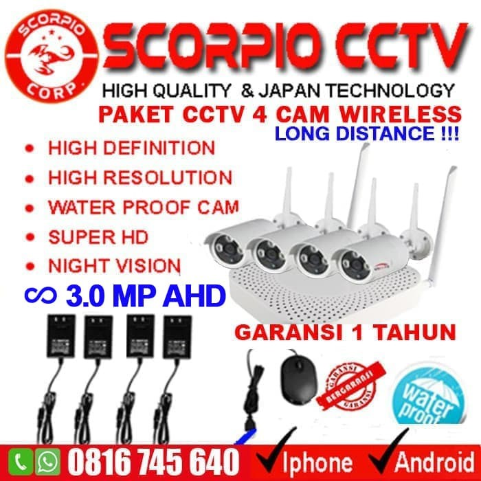 Jual PAKET CCTV 4 CAMERA WIRELESS SUPER HD WIFI KAMERA
