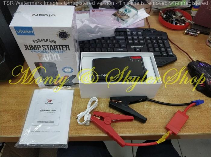 Vivan JP08 8000mAh Jump Starter Power Bank Black - Jumper Aki Mobil - Hitam