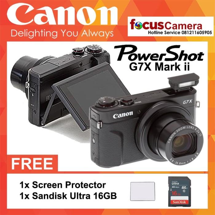 harga Kamera canon powershot g7x mark ii resmi - screen guard- sandisk 16gb Tokopedia.com