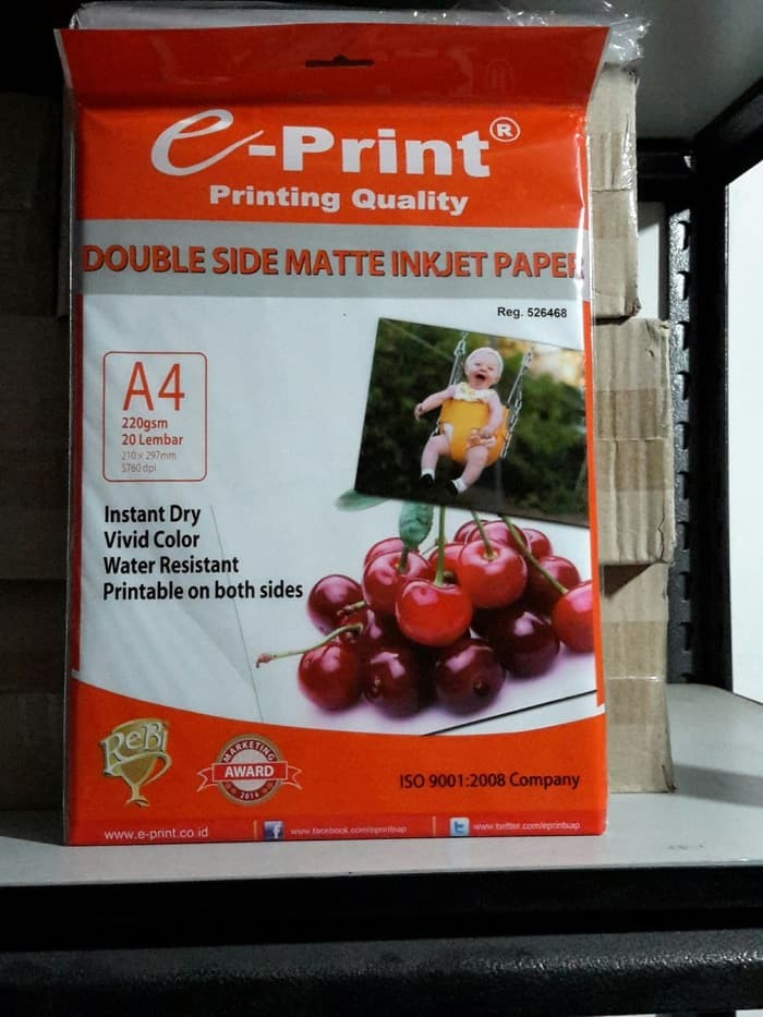 Foto Produk Eprint Photo Paper Double Side Matte Inkjet Paper A4 220gsm dari Paper Shop Jkt