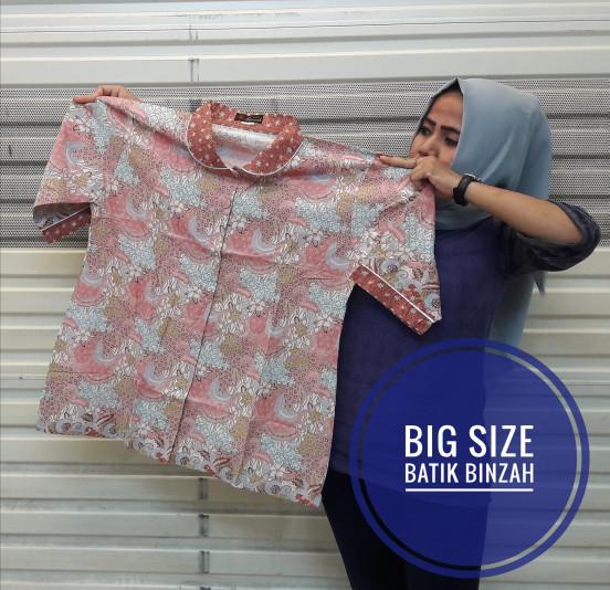 harga Blus jumbo kode 0387 / batik lengan 7/8 big size / batik binzah Tokopedia.com