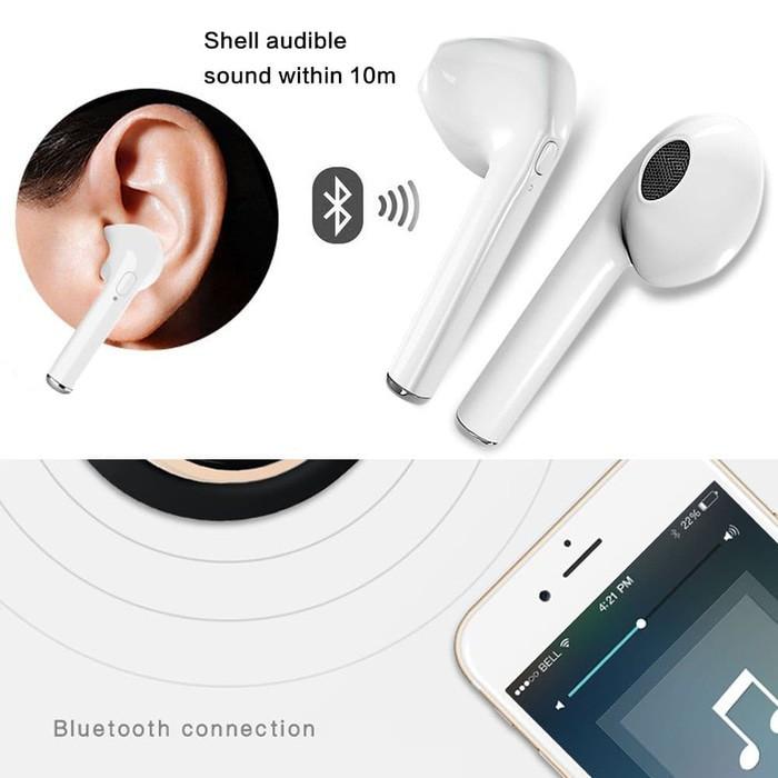 harga Headset handsfree earphone bluetooth wireless mic stereo hbq i7 Tokopedia.com