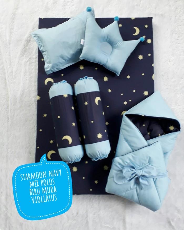 Kasur bayi + set selimut topi banggul banpey starmoon navy biru muda
