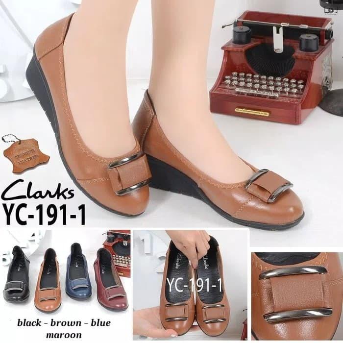 Jual Sepatu Wanita Clarks YC-191-1 Wedges   Sepatu Kerja Wanita ... 6080118164