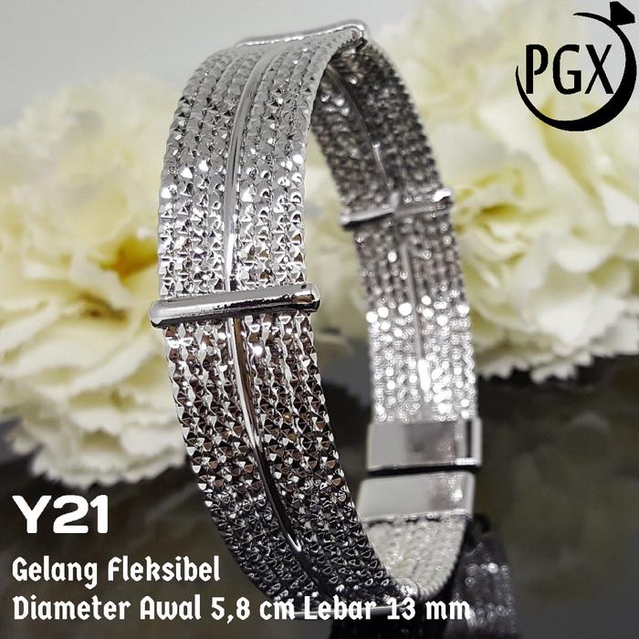 harga Gelang keroncong putih - perhiasan lapis emas 18k - xuping yaxiya Tokopedia.com