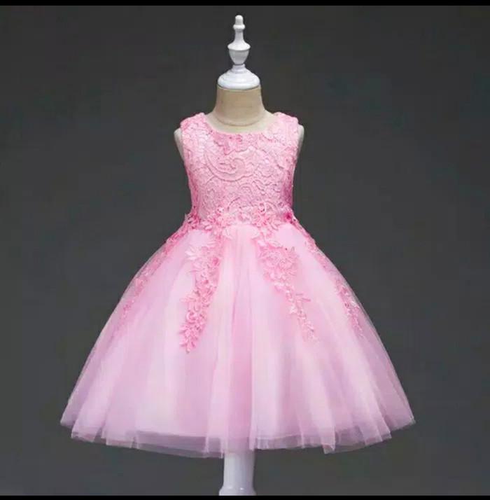 harga Dress pesta anak import . dress tille brukat pink umur 5-7thn Tokopedia.com