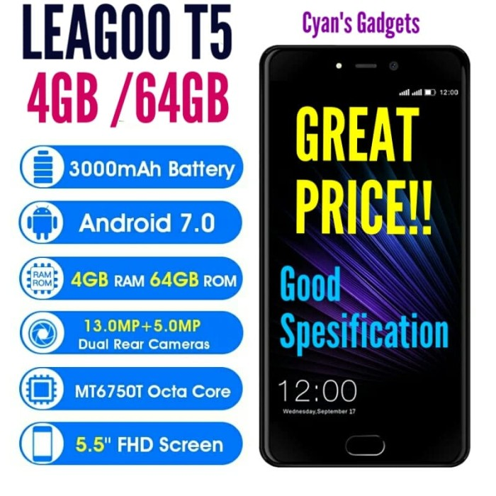 harga Hp leagoo t5 4gb/64gb harga oke 13mp cam dual 4g rival xiaomi Tokopedia.com