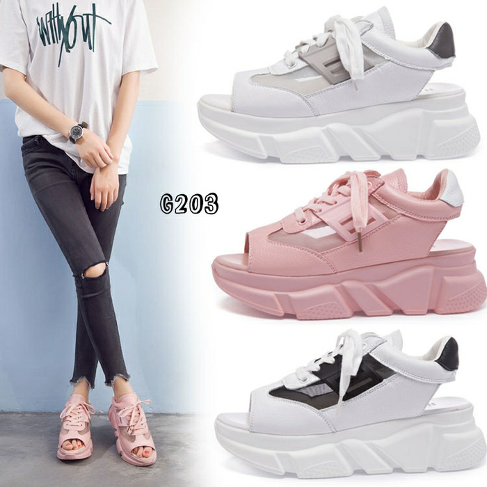 harga Restok.. wedges sneakers sporty korea #g203 Tokopedia.com