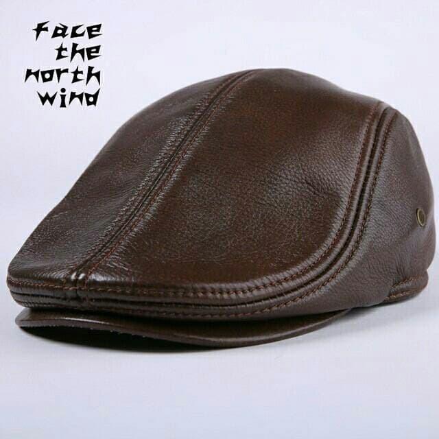 Topi PET kulit asli   topi kulit pria maher zein copet pelukis kodok - Hitam 64da60e436
