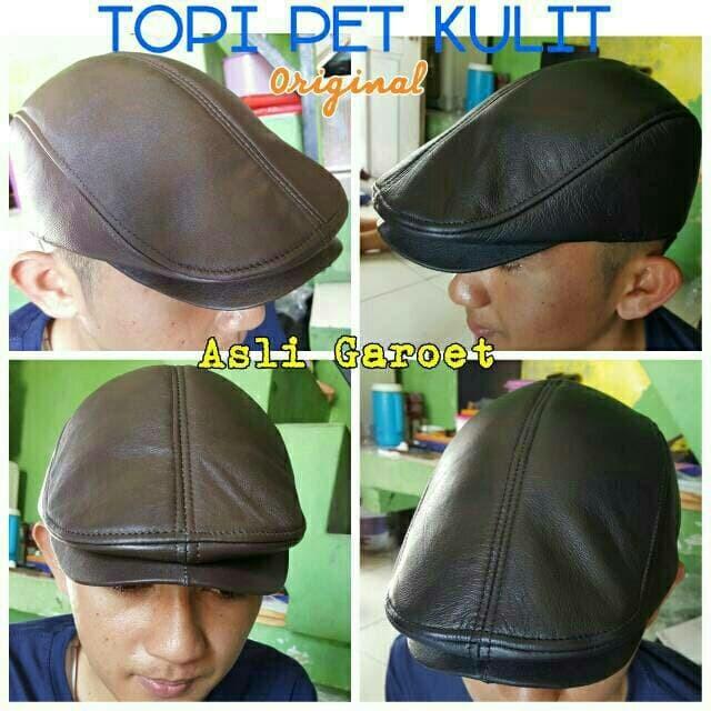 Topi PET kulit asli / topi kulit pria maher zein copet pelukis kodok