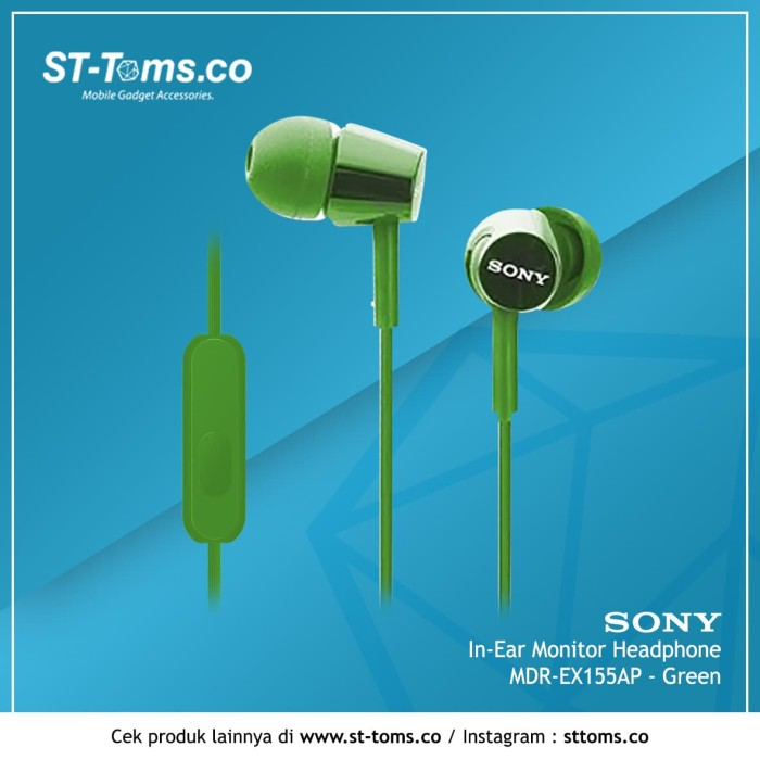 harga Sony in-ear monitor headphone mdr-ex155ap / ex 155ap - blue - hijau tua Tokopedia.com