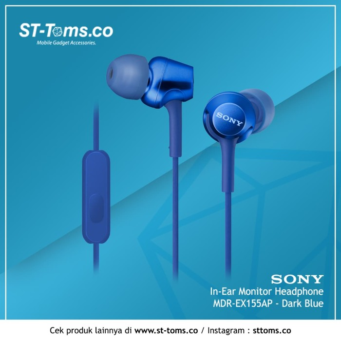 harga Sony in-ear monitor headphone mdr-ex155ap / ex 155ap - blue - emas Tokopedia.com