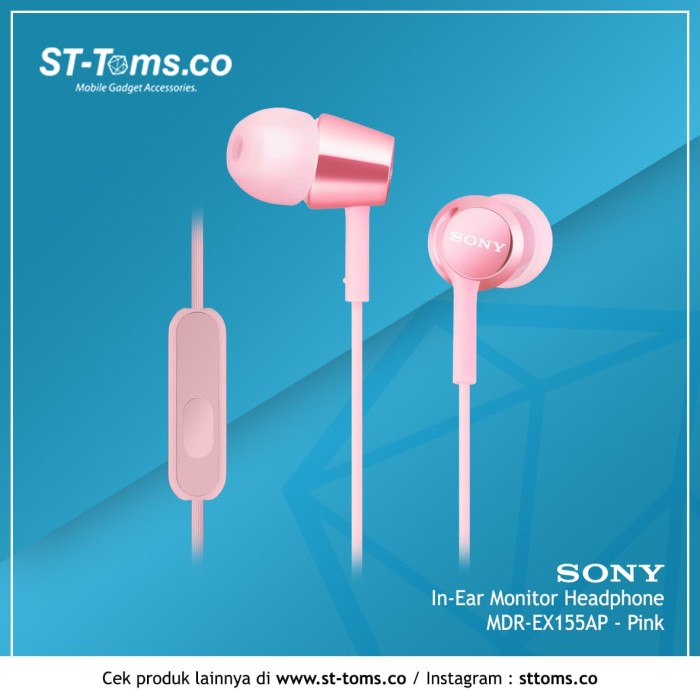 harga Sony in-ear monitor headphone mdr-ex155ap / ex 155ap (p) - pink Tokopedia.com