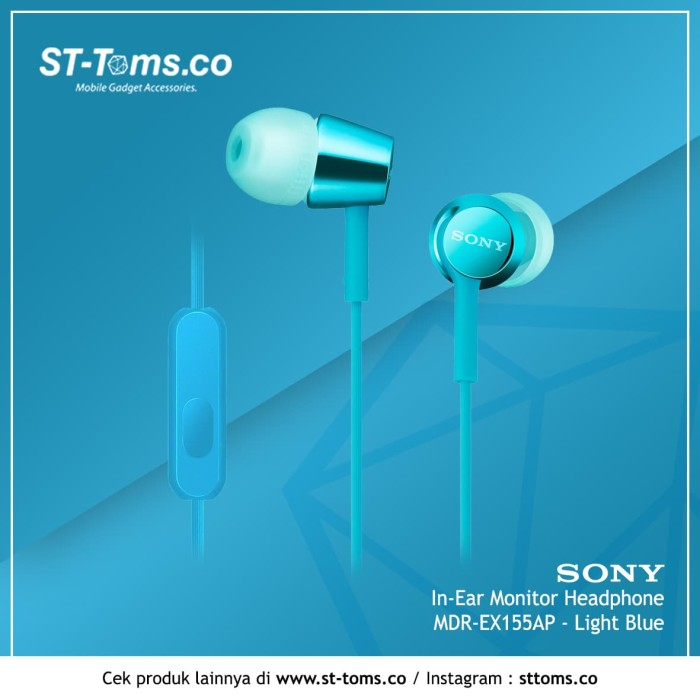 harga Sony in-ear monitor headphone mdr-ex155ap / ex 155ap - teal - turquoise Tokopedia.com