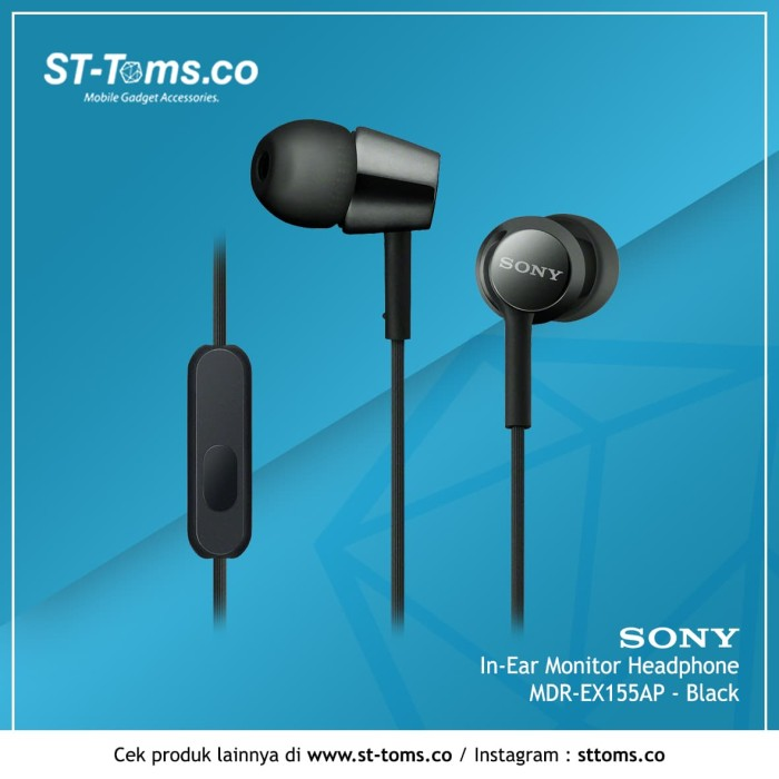 harga Sony mdr-ex155ap / ex 155ap in-ear monitor headphone - black Tokopedia.com