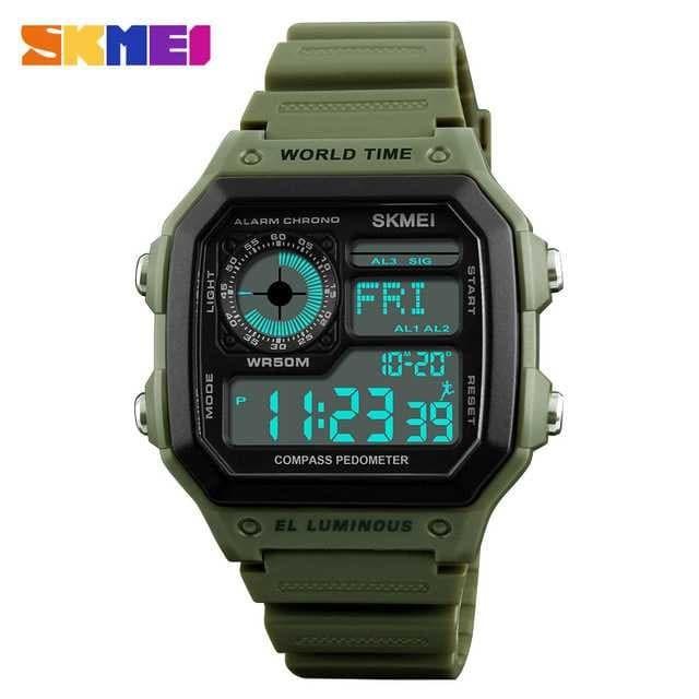 Jam tangan skmei pedometer + compass 1373 original anti air 50m - army