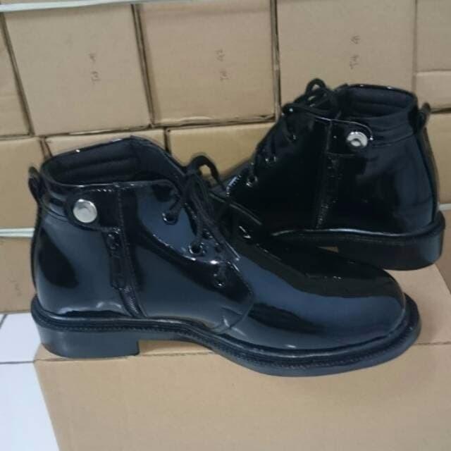 Sepatu boots pdh pdl pria dinas kerja kantor polisi security kilap s