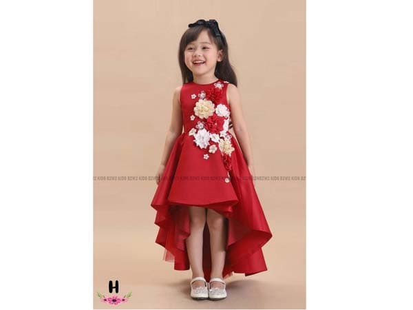 Jual Dress Anak Warna Merah Motif Bunga Gaun Pesta Anak Bahan Satin