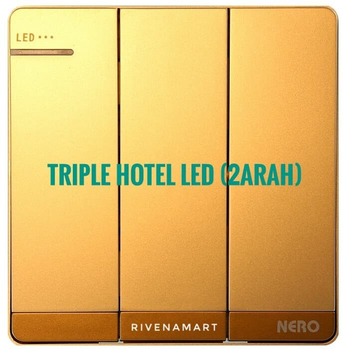 NERO Saklar Triple Hotel (2 Arah) LED Decora Q7 Q71632D-G Gold