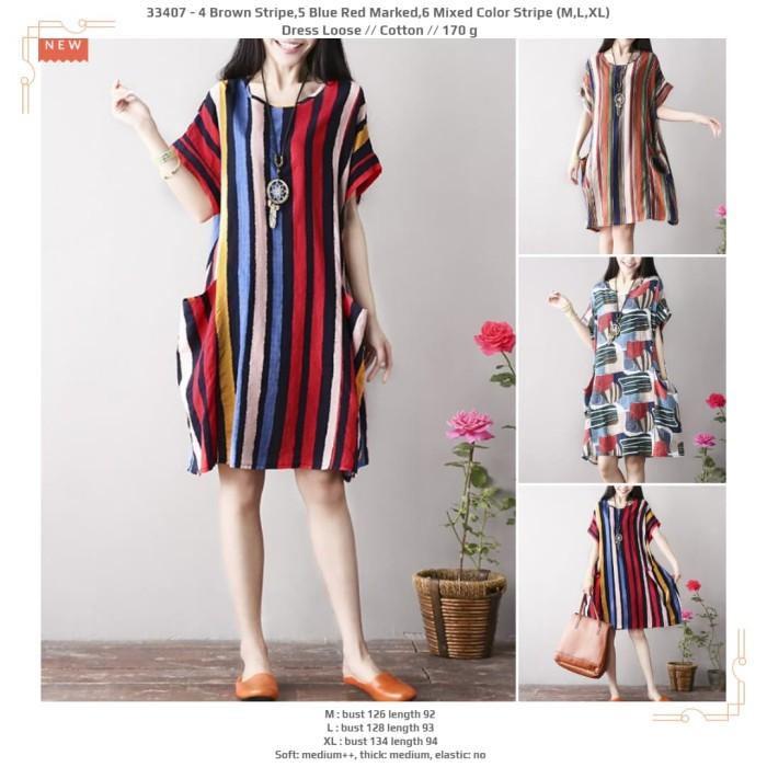 harga 5 blue red marked6 mixed color stripe (mlxl) dress loose -33407 Tokopedia.com
