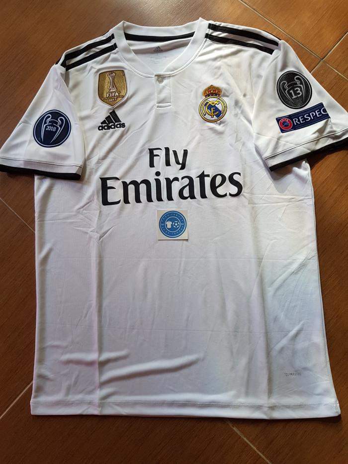 0bac7f15f Jual Jersey Grade Ori Real Madrid Home 18 19 Full Patch UCL - Putih ...