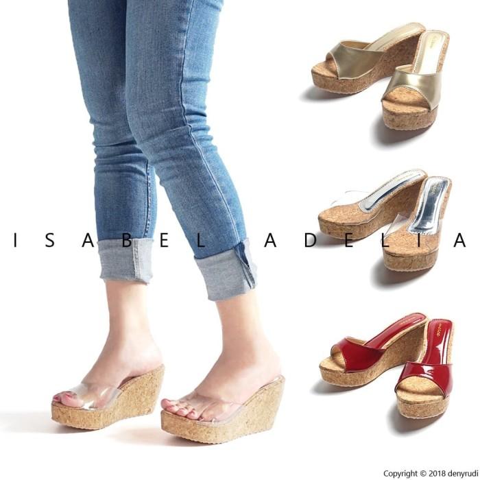 harga Isabel farah sepatu sandal wanita wedges gold mika merah Tokopedia.com