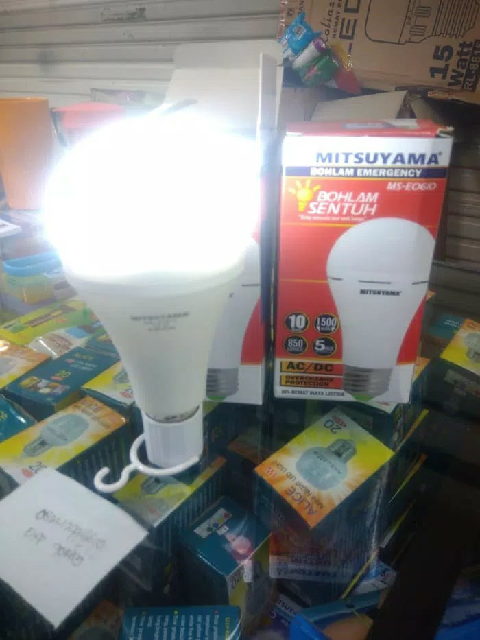 Bohlam lampu led emergency sensor sentuh AC/DC mitsuyama 10 watt