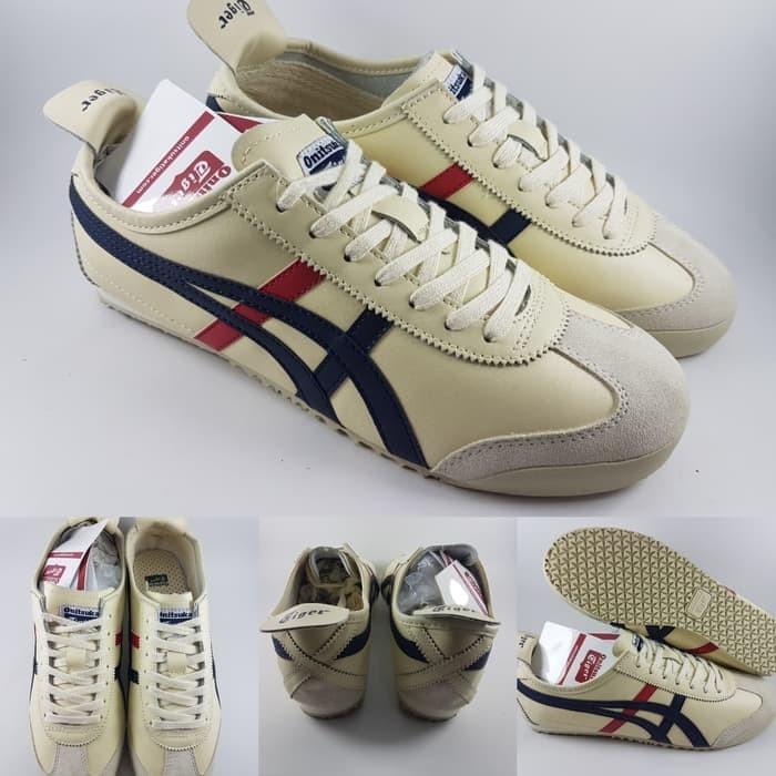 sports shoes 95939 31911 Jual Sepatu Asics Onitsuka Tiger Leather Mexico 66 Beige Blue Red -  peweeshop | Tokopedia