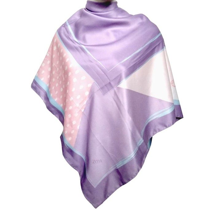 kerudung satin zoya segi empat cantik - tsabina scarf - purple
