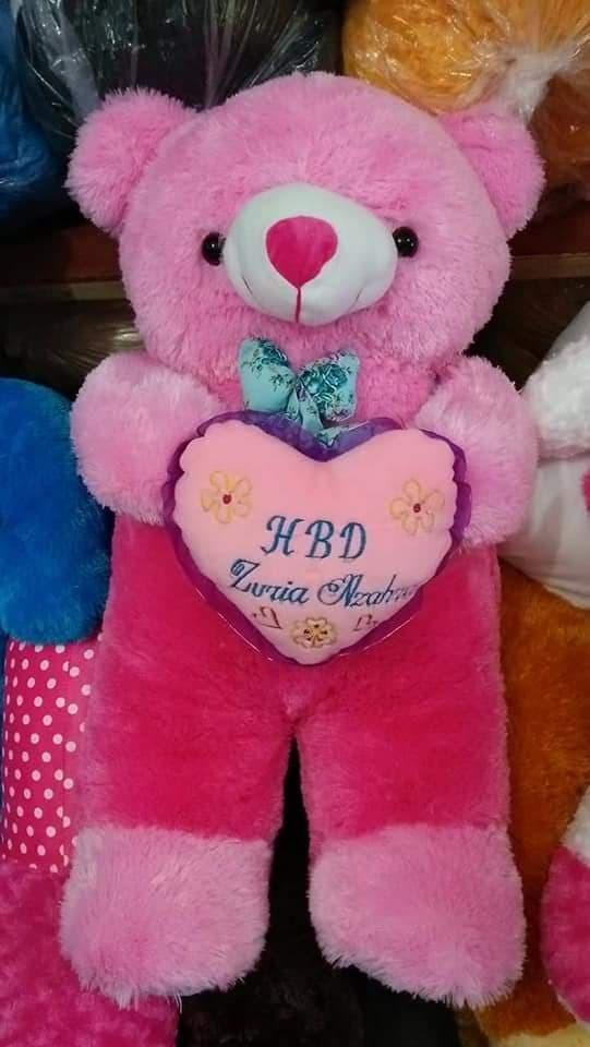 BONEKA BERUANG TEDDY BEAR JOJON JUMBO PINK DOGER FANTA CREAM UKIR NAMA - Fanta Cream