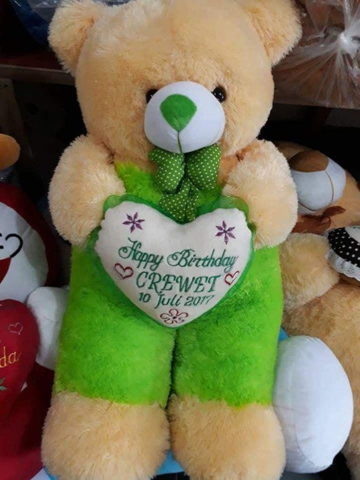 BONEKA BERUANG TEDDY BEAR JOJON JUMBO CREAM PINK FANTA HIJAU MUDA UKIR - Cream Fanta