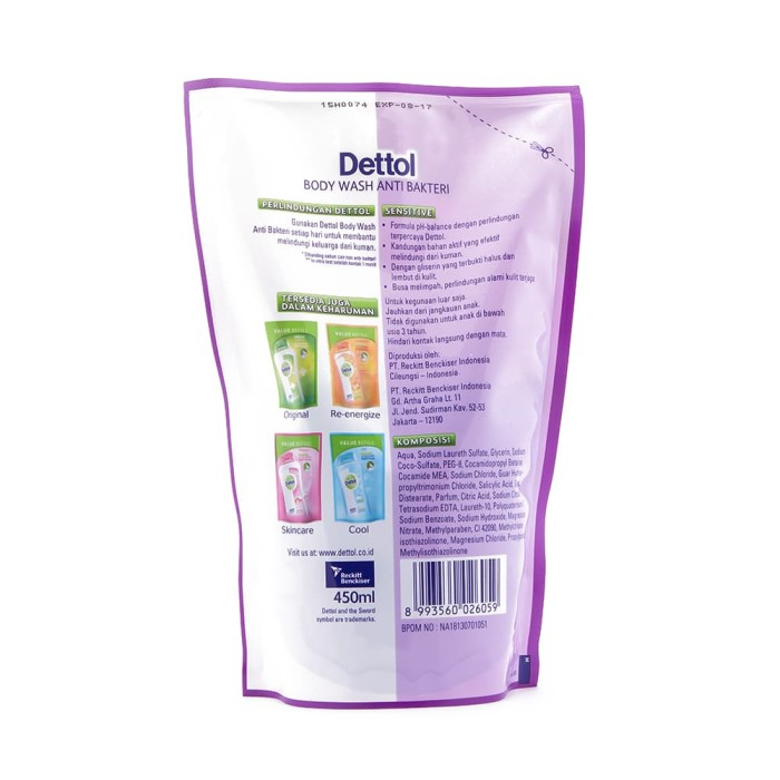Dettol Sabun Mandi Cair Skincare - Isi Ulang 250mL - Anti Kuman - Ekstra Pelembab &