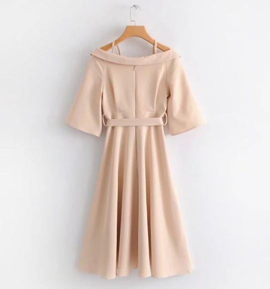 Jual Import Sabrina Cream Dress Midi Strap Gaun Pesta Off Shoulder