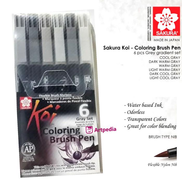 harga Sakura koi coloring brush pen - 6 gray set Tokopedia.com