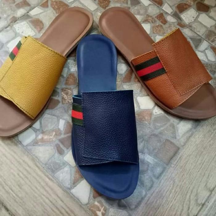 Jual Sandal Kulit Flat Wanita Asli Garut model Lipat Gucci - Ardaff ... c2b48e975a
