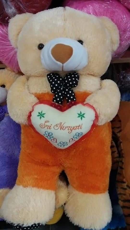 BONEKA BERUANG TEDDY BEAR JOJON JAYEN JUMBO CREAM ORANGE HIJAU KUNING - Cream Orange