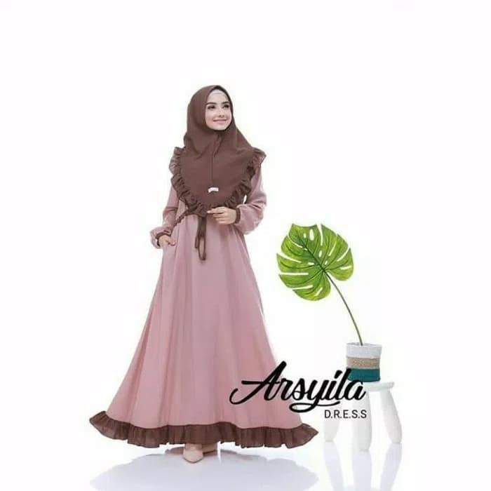 Gamis Hitam / Baju hijab syari / Pakaian muslim wanita : Arsyila Syari 2