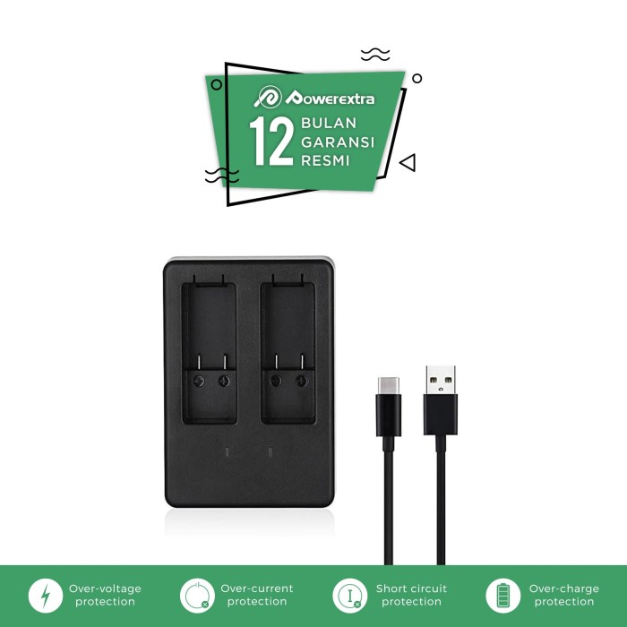 harga Dual battery charger with usb type c cable for gopro hero5 hero6 Tokopedia.com