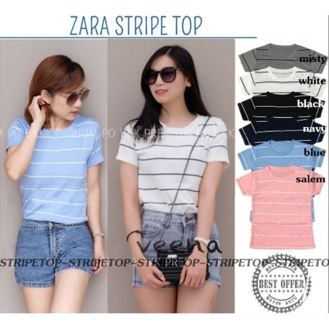 3023d76f Jual BEST SELLER ITEM !!! ZARA BASIC STRIPE TOP | STRETCH FIT TO L+ ...