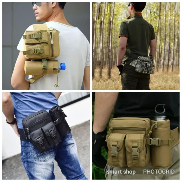 Tas Pinggang Tactical Army Dengan Tempat Botol/tas army botol BR - khaki