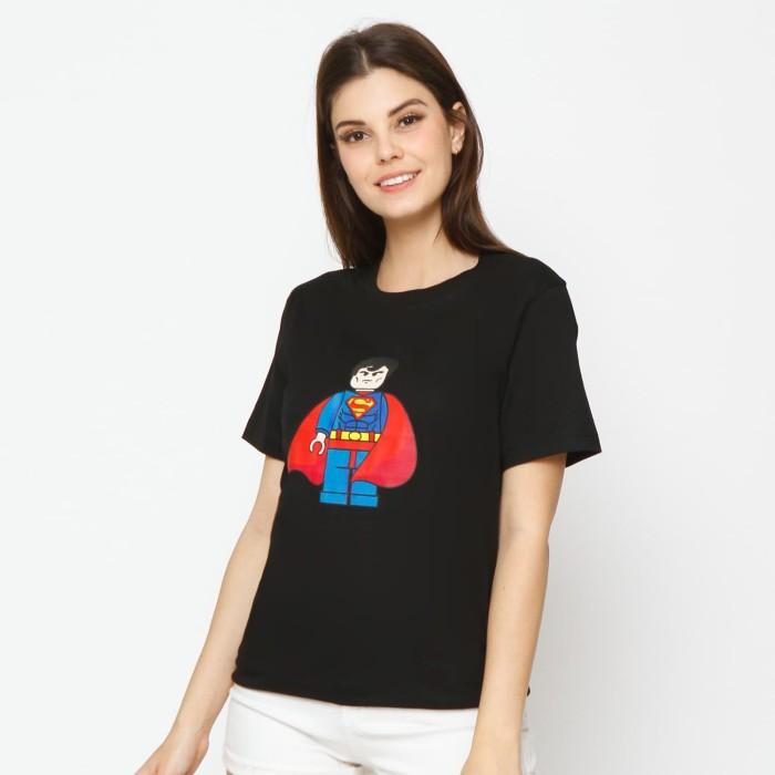 Kuki style lego collection t-shirt superman - black - hitam xl