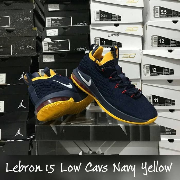 f0cbdad07e886 Jual Sepatu Basket LeBron 15 Low Cavs Navy Blue Yellow Biru Dongker ...