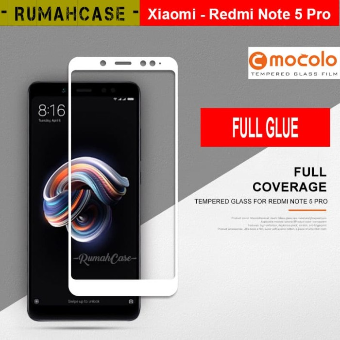 harga Xiaomi redmi note 5 pro - full glue & cover mocolo tempered glass ori Tokopedia.com