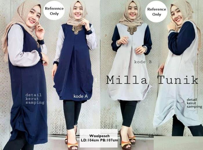 Baju Atasan Blouse Wanita Baju Muslim Blus Muslim Milla Tunik - Abu-abu Muda c747624d29