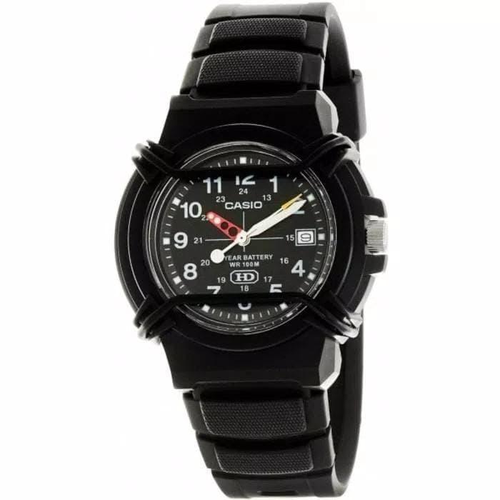 Jam Tangan pria casio HDA-600B-1bvdf original jarum karet hitam sport